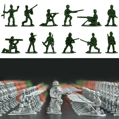 100pcs Silver Action figures Army Men Toy Soldiers (World War 2) Kids Toy Gift