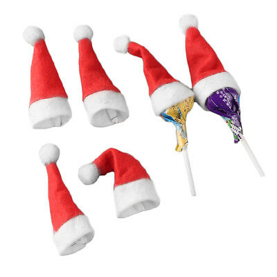 30/60pcs Mini Lollipop Lollypop Santa Claus Hats Cap Wrap Christmas Party Decor
