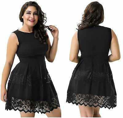 New Plus Size Women s Black Scoop Neck Lace Sleeveless Mini Skater Evening  Dress ddad6dd41