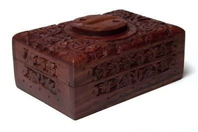 FindSomethingDifferent Rustic Wooden Handcarved Tarot Box Yin Yang