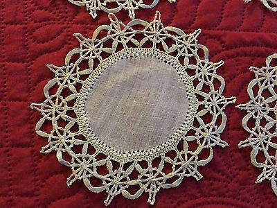 Antique 8pc Set Linen Cocktail Rounds Napkins Handmade Italian Needlelace
