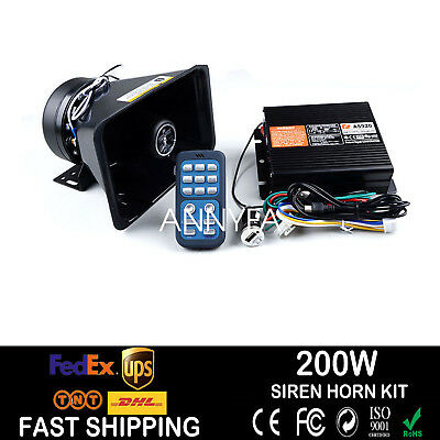 200W PA Siren Horn Bluetooth Loud Speaker System Kit Warning Alarm 8 Sounds US