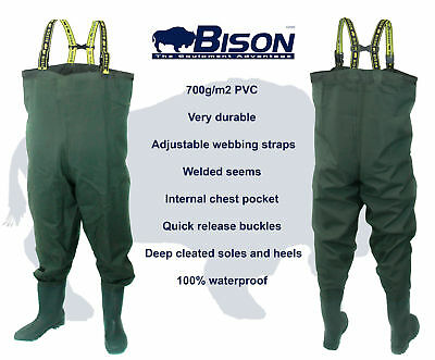BISON HEAVY DUTY PVC / NYLON CHEST WADERS 700 gr/ms SIZES 7 8 9 10 11 0R 12