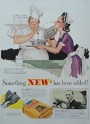 1937 ORIG. PRINT AD OLD GOLD cook adds the final touch of herb to his dish