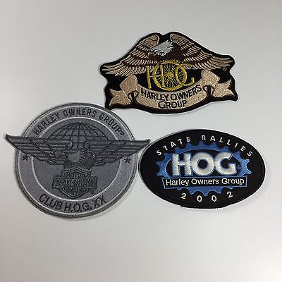 Lot of 3 Harley-Davidson HOG Patches Eagle, State Rallies, Club H.O.G. XX