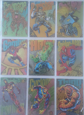 """Marvel Universe 1994 - Limited  Eition """"Power Blast"""" Set of 9 Chase Cards"""