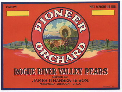 PIONEER ORCHARDS, Oregon Pear Crate Label r, Western, Wagon, *AN ORIGINAL LABEL*