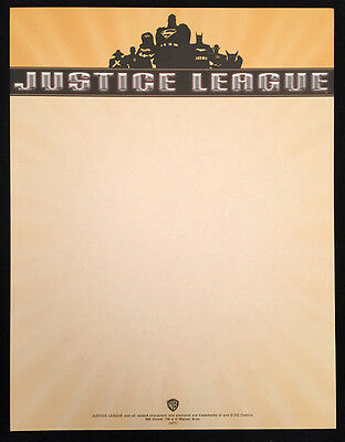 Rare Justice League Stationery - Promo Only - Superman Batman Wonder Woman