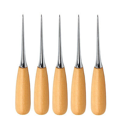 5Pcs Leather Craft  Sewing Stitching Wood Handle Awl Professional Leather Tool