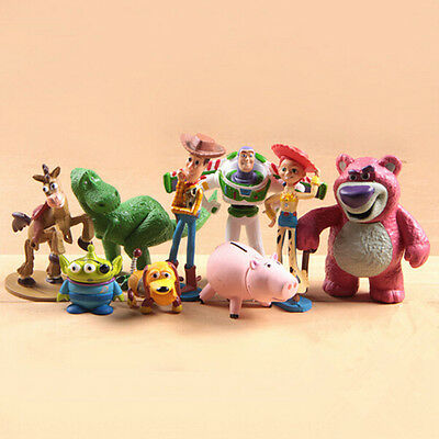 9x Toy Story Buzz Lighter Woody Jessie Figures Dinosaur Lotso Dot Kid Toy Gift