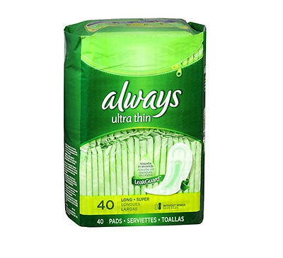 Always Ultra Thin Long Super Pads Without Wings, 40 Count