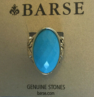 Barse Bronze Blue Turquoise Howlite Faceted Oval Statement Ring $38