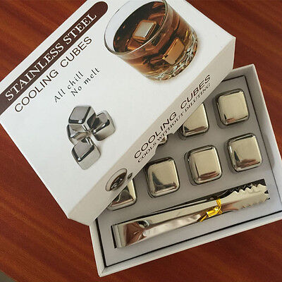 Stainless Steel Whiskey Cooler Wine Cooling Stones Ice Cubes Chillers Drink New