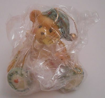 Cherished Teddies Boy Elf with Reindeer Christmas Ornament NEW 625442