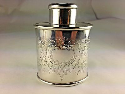 Antique Silver Plated Travel Ornate Tea Caddy English