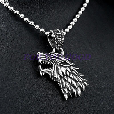 "Game of Thrones Wolf Stainless Steel Pendant Necklace Free 24"" Chian"