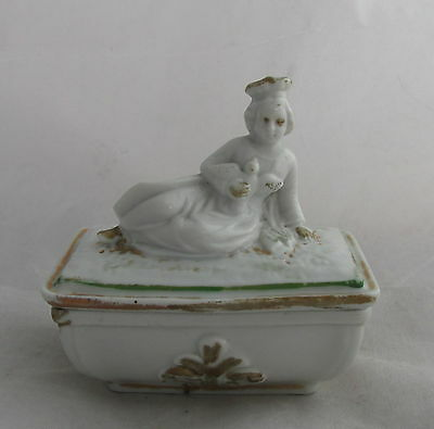 Victorian Antique Staffordshire Pottery Fairing Box Queen Holding Dove Bird