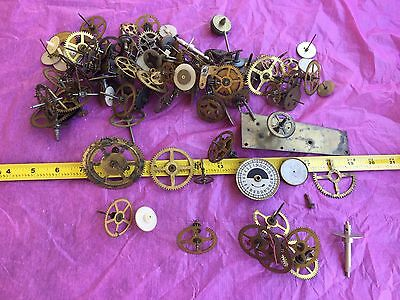 2.5 LBS Vintage Clock Parts Gears Wheels Shafts Steampunk Art Jewelry Repourpuse