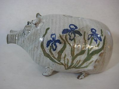 Beautiful Hand Crafted/painted Art Pottery Pig Piggy Bank Money Box, Signed