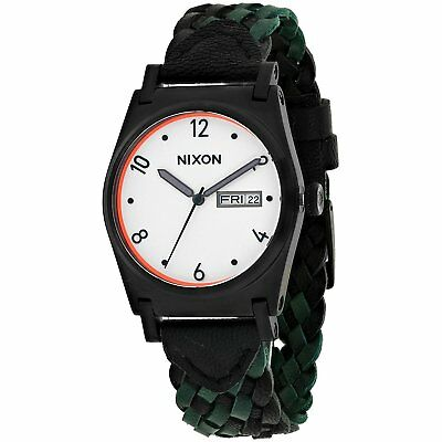 Nixon Women's A9552357 Jane 36mm Black PVD Black Leather Forest A955-2357-00