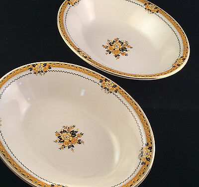 Myott Staffordshire The Savoy Oval Serving Bowls Black Orange Ivory 1930s Deco