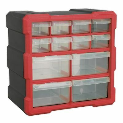 Sealey 12 Drawer Cabinet Box Red Black Storage Organiser Fixings Tray APDC12R