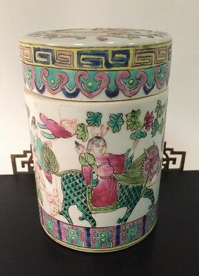 """Old Chinese Tongzhi 5"""" Porcelain Tea Caddy Jar ~ Excellent Condition ~"""