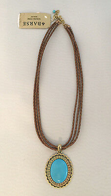 Barse Three Braided Leather Cord Oval Turquoise Colored Stone Pendant Necklace