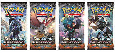 2 X Sealed Burning Shadows Sun & Moon Pokemon Single Booster Pack