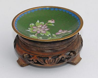 Vintage Cloisonne Dish on Wooden Stand -Green with Pink Water Lily/Flowers 7.8cm