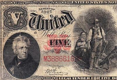 "Nice F++/VF SCARCE Fr. 92 ""Woods-White"" $5 1907 ""WOODCHOPPER"" US Note! M38868189"