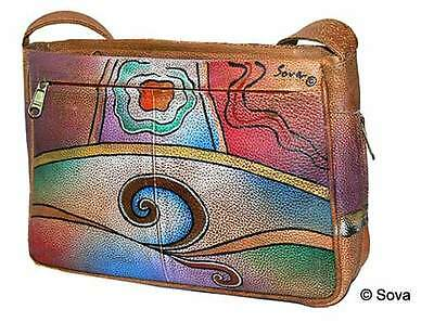 Sova Hand Painted Multi Pocket Leather Bag