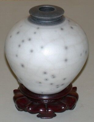 """Collectible Pottery Vase w/ Wooden Stand ~ 5"""" H x 5"""" Diameter"""