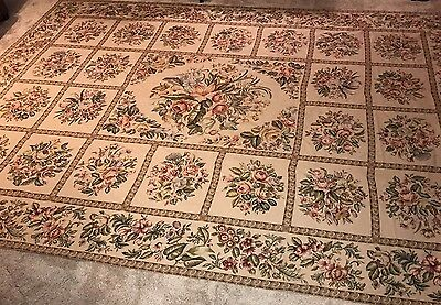 Antique Vtg Handwoven French Tapestry Aubusson Rug Large Huge 10'x 14' Victorian