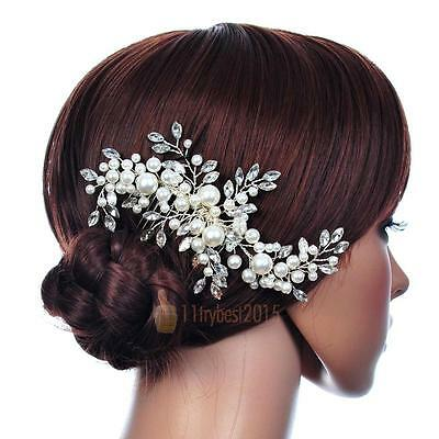 Wedding Bridal Hair Comb Crystal Pearl Headpiece Side Hair Pin Clip Rhinestone