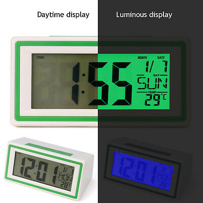 Digital Backlight LED Display Table Alarm Home Clock Snooze Thermometer Calendar