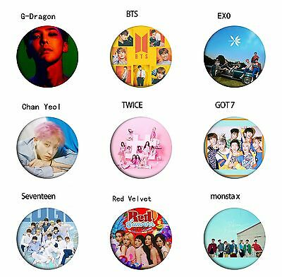 Kpop EXO BTS TWICE GOT7 Monsta X Seventeen Red Velvet Pins Badge Buckles Button