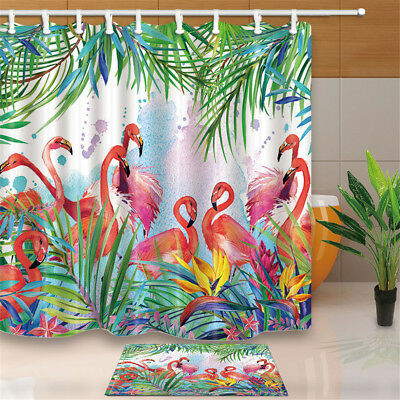 Tropical flowers Flamingo Waterproof Bathroom Shower Curtain Floor Mat 12 Hooks