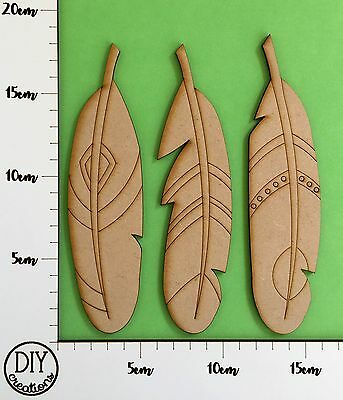 MDF Patterned Feathers - Set of 3 - DIY Decor for Adults and Kids