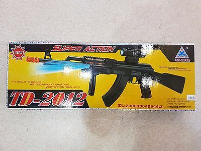 Toy Gun Electric Battery TD2012 AK With Light And Sound Plastic