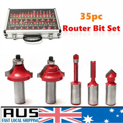 AU 35pc Router Bit Set 1/2'' Shank Tungsten Carbide Router Bits Woodworking Tool