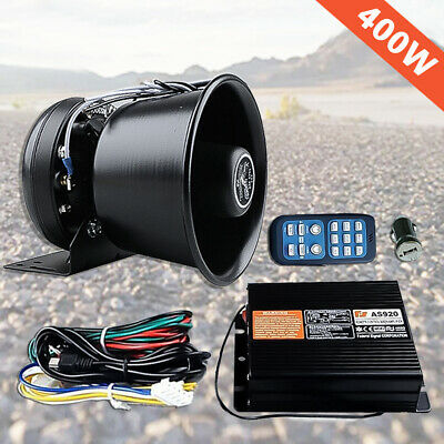New 400W 8 Sound Loud Car Warning Alarm Police Fire Siren Horn PA Speaker Remote