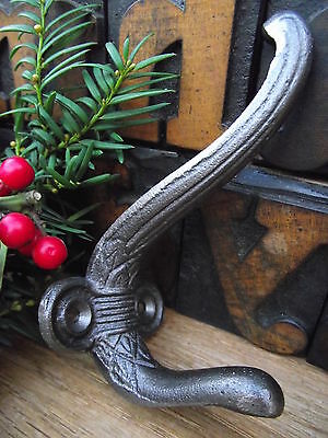 5 Victorian Style Cast Iron Coat Hooks old vintage edwardian antique style pegs