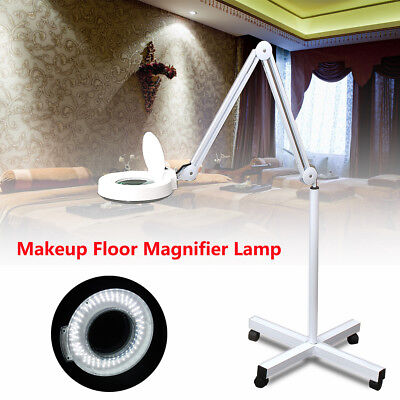 5x Rolling Makeup Floor Stand Magnifying Lamp Glass  Facial Jewelry Adjustable