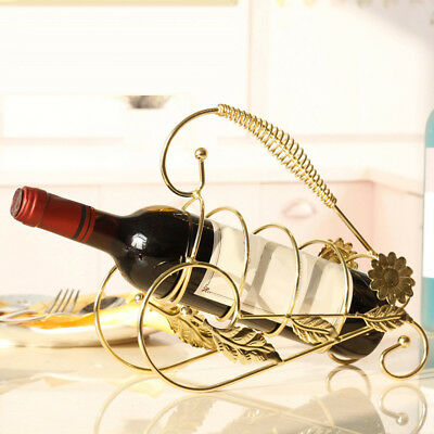 Iron Wire Wine Bottle Holder Rack Bar Desktop Display Stand Bracket Golden