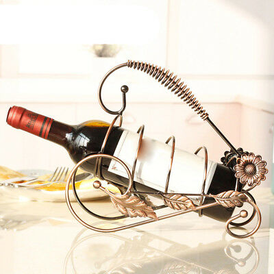 Metal Wire Wine Bottle Holder Rack Bar Desktop Display Stand Bracket Bronze