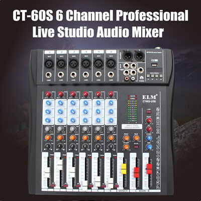 AU CT-60S 6 Channel Professional Live Studio Audio Mixer 48V Phantom Console