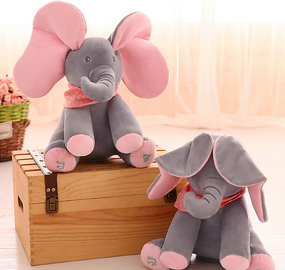 New Peek-a-boo Elephant Plush Toy Baby Singing Animated Stuffed Kids Doll Animal