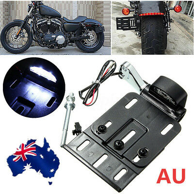 LED Light Side Mount License Plate 2004-UP For Harley Sportster Dyna Fat boy