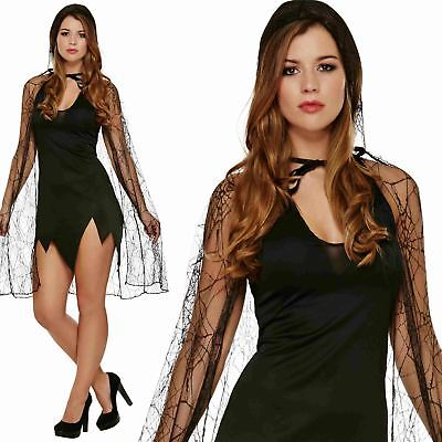 Black Spider Web Hooded Cape Witch Zombie Ladies Halloween Fancy Dress Costume